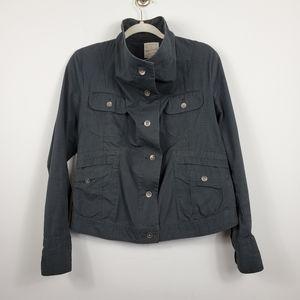 Eddie Bauer Ripstop Gray Button Up Utility Jacket